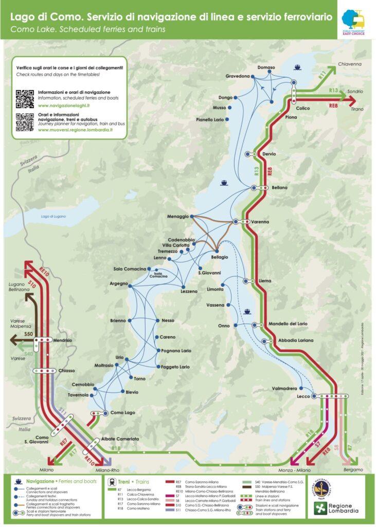 コモ湖 交通機関マップ