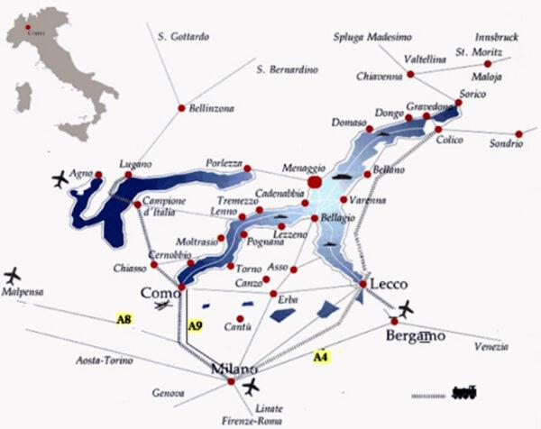 コモ湖周辺の地図