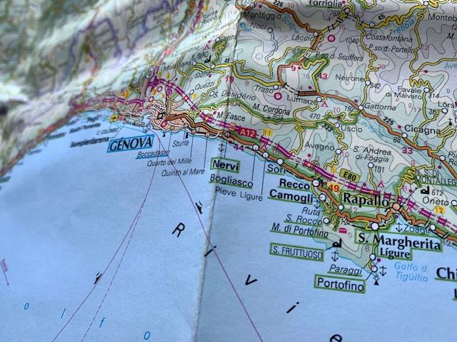 ポルトフィーノとジェノバ周辺地図
