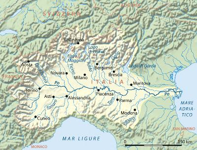 パダーナ平原周辺の河川